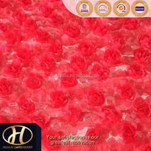 RED ROSETTE E EMBROIDERY FABRIC MADE IN CHINA
