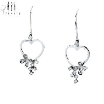 Heart Shaped Earrings Solid Gold Simple Design Daily Wear S Jewelry Diamond High Quality Earring