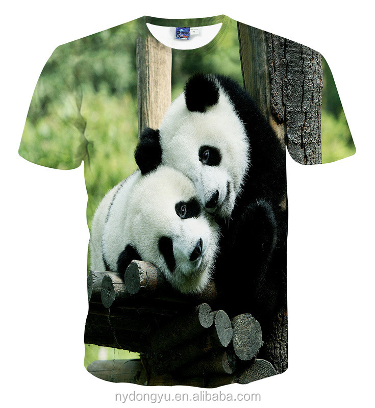 men panda 3d print t shirts ni cool 3d green pands leaning casual sports t shirts