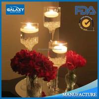 set of 3 long stemmed glass candle holder transparent