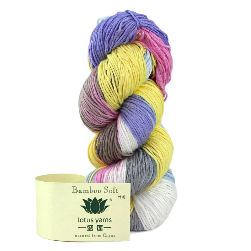 Fashion Wholesale Popular 100% Bamboo Cotton Yarn multi color for baby