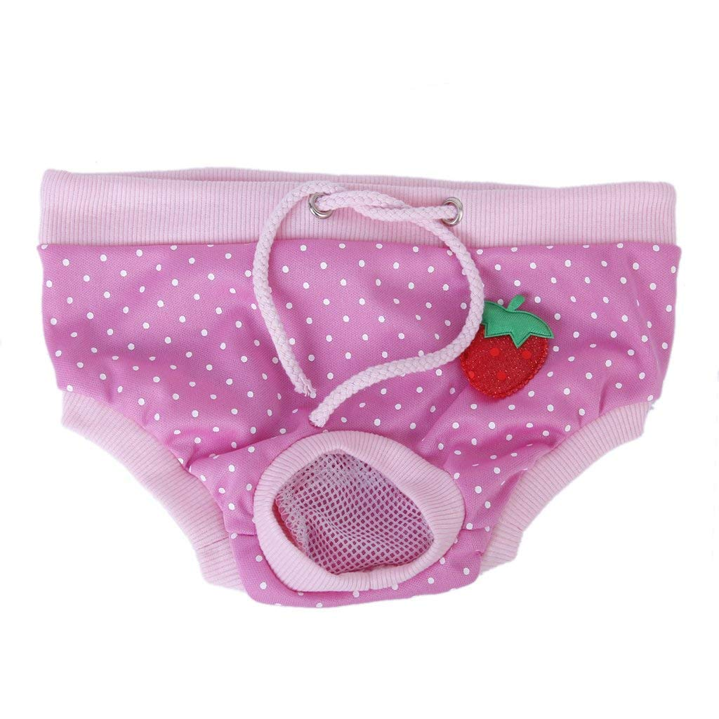 NiceButy Female Pet Dog Sanitary Diaper Pants Puppy Physiological Menstrual Panty (S, Pink with White dots)