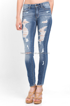 Hez Ladies/womens Super Skinny Destoyed Ripped Jeans Distressed ...