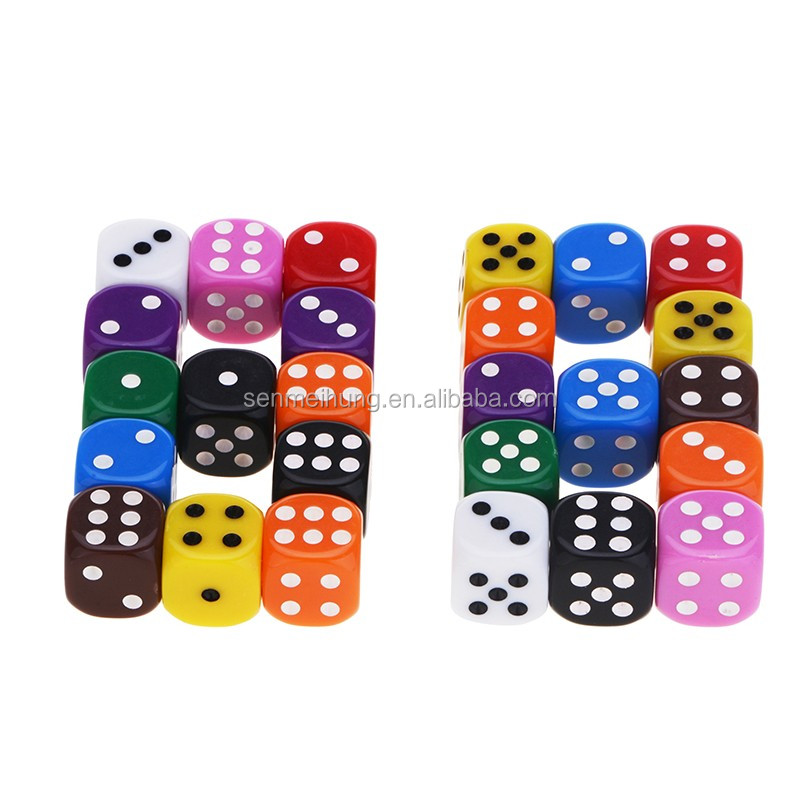 Custom Plastic Round Corner 16MM Dot Dice with Engraved Logo