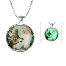 DY Latest Necklace Jewelry Women Silver Plated, Cute Sika Deer Glow In The Dark Luminous 목걸이