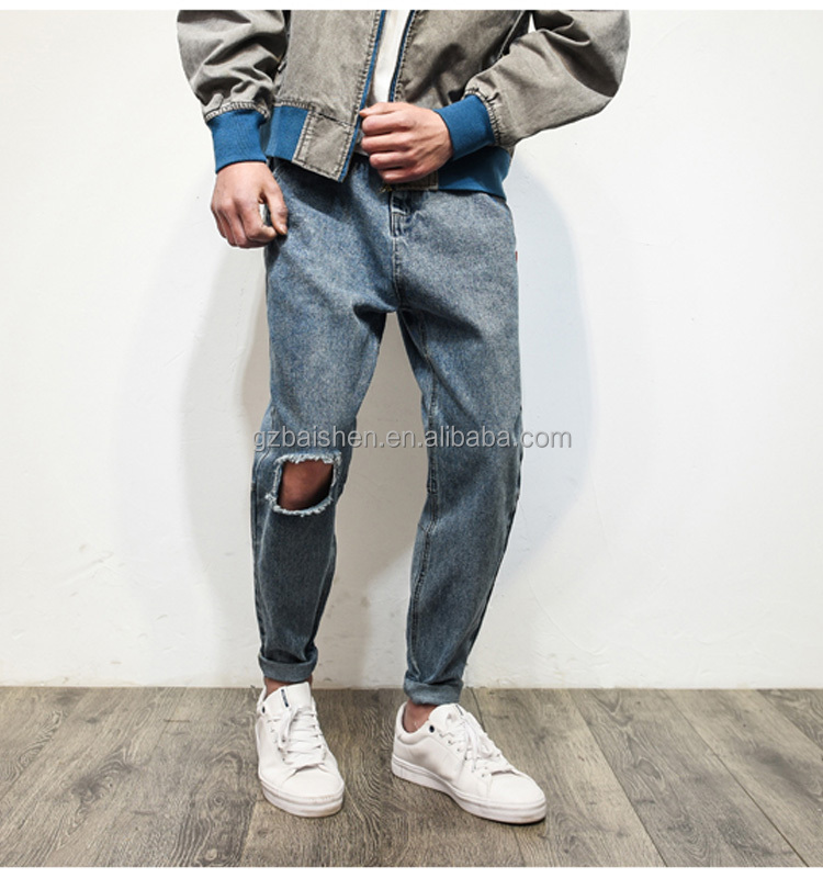 New design man vintage distressed a big hole denim biker jeans pants for man ripped jeans robin jeans