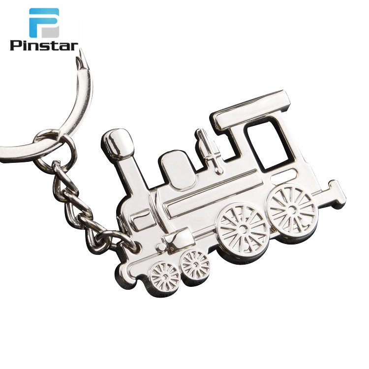Customized unique design metal old type steam train shaped keychains