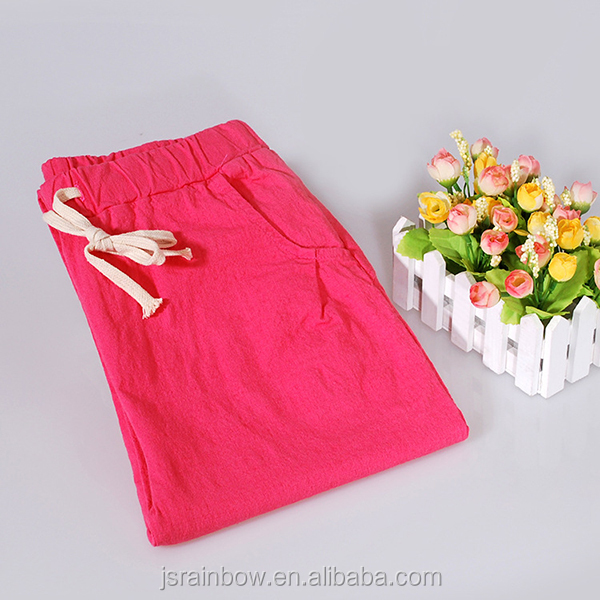2019 hot style linen cotton washing cotton panty loose big yards nine points straight women casual pants