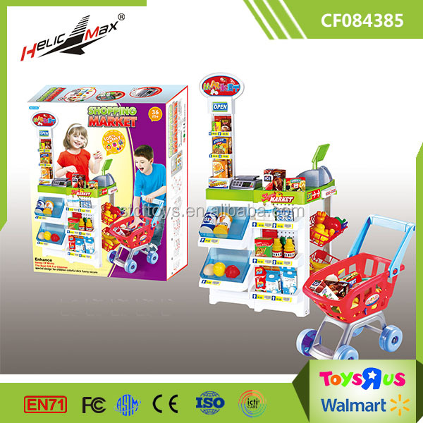 Happy Play Together Pretend Toy Shopping Market with Trolley for Kids
