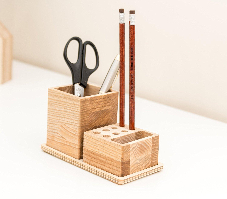Small Desk Organizer - 2 Pieces Table Organizer - Wooden Desk Organization - Pens Pencils Container - Desk Storage - Husband Gift