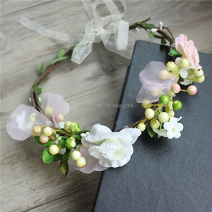 China flower and berry artificial garland for hair decoration