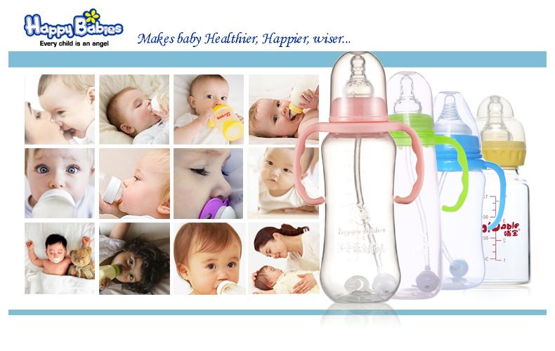 Fashion 200 ml wide neck rvs zuigfles met handvat met stro baby producten