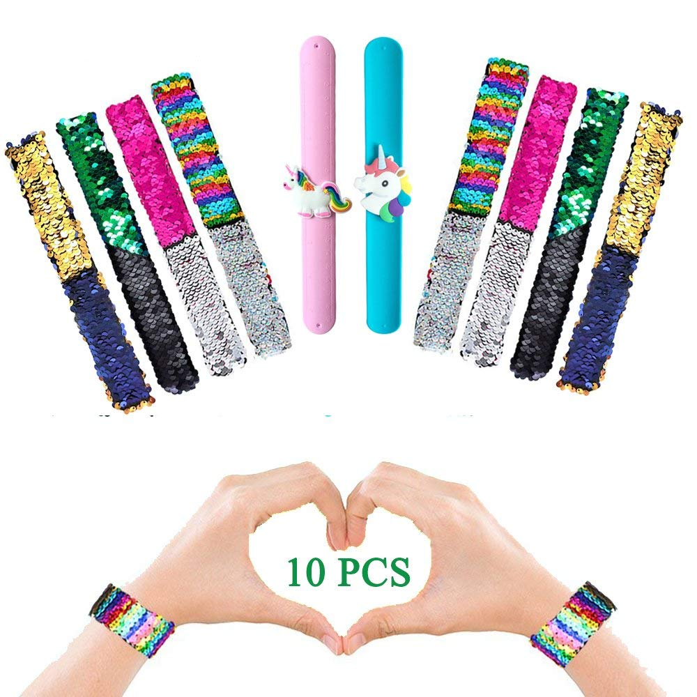 Slap Bracelets-Mermaid Slap Bracelet,Unicorn Silicone Slap Bracelet for Birthday Party Favors, Two-Color Decorative Reversible Sequins Slap Bracelets for Kids Girls Boys 10 Pcs