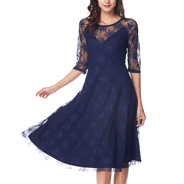 Transparent Half Sleeve Blue Solid Color <strong>Lace</strong> Casual Fashion Women <strong>Skater</strong> <strong>Dress</strong>
