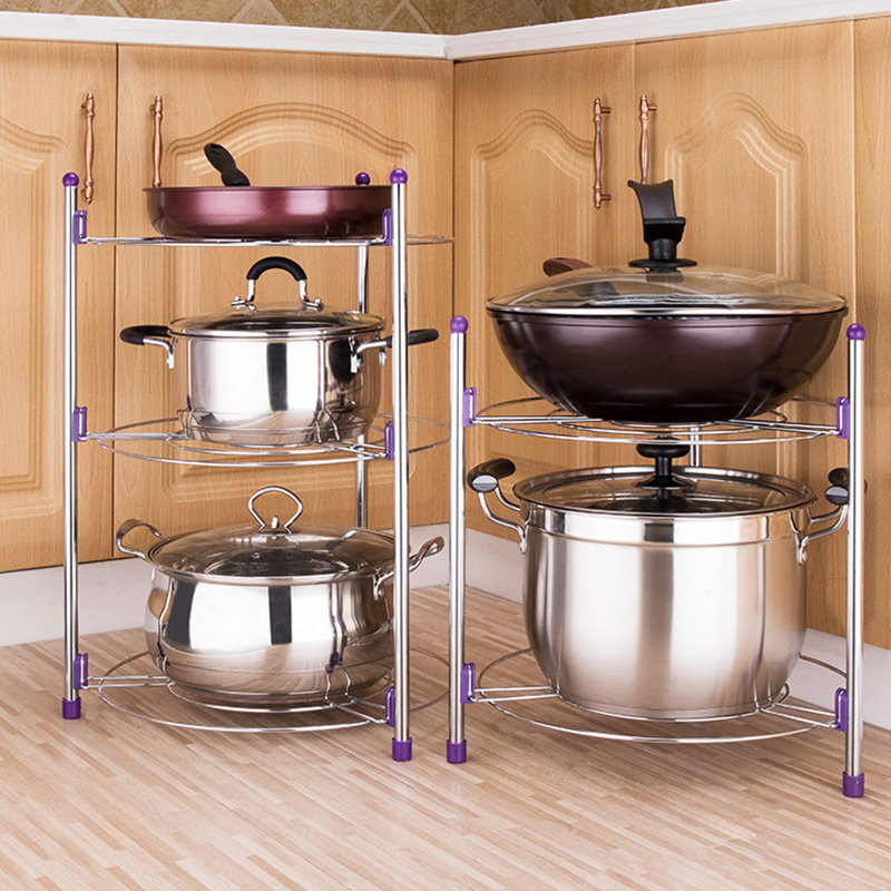 3 Layer <strong>Carbon</strong> <strong>Steel</strong> Plating Kitchen Pot Rack Shelf Organizer Multifunctional Kitchen Pan Cover Rack Home Storage Tool