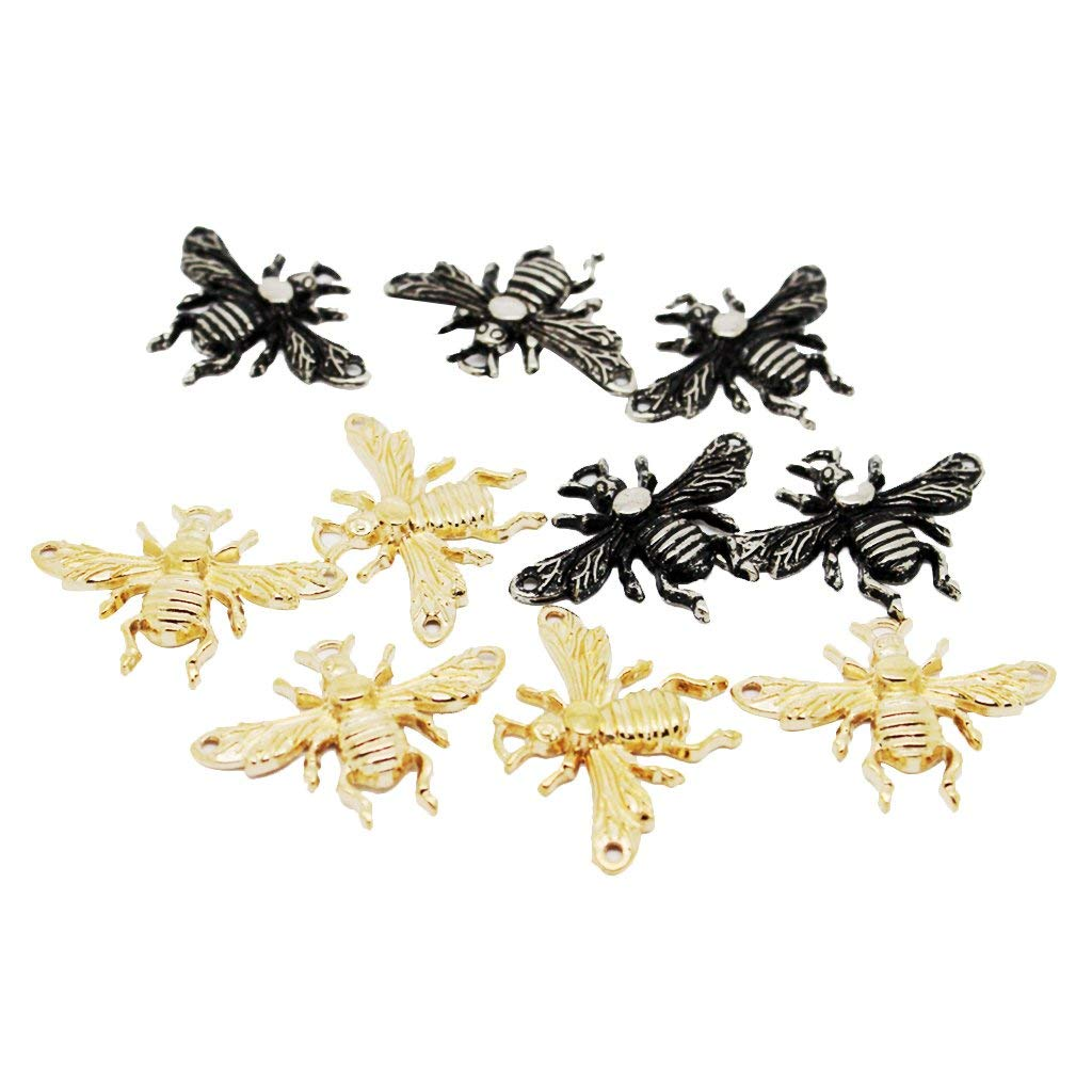 Flameer 10Pcs Retro Bee Alloy Crafts Buttons for Sewing or Pendant Necklace Bracelets Earring Making DIY Jewelry Making
