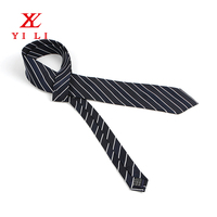 High quality 100% polyester jacquard skinny stripe ties for men