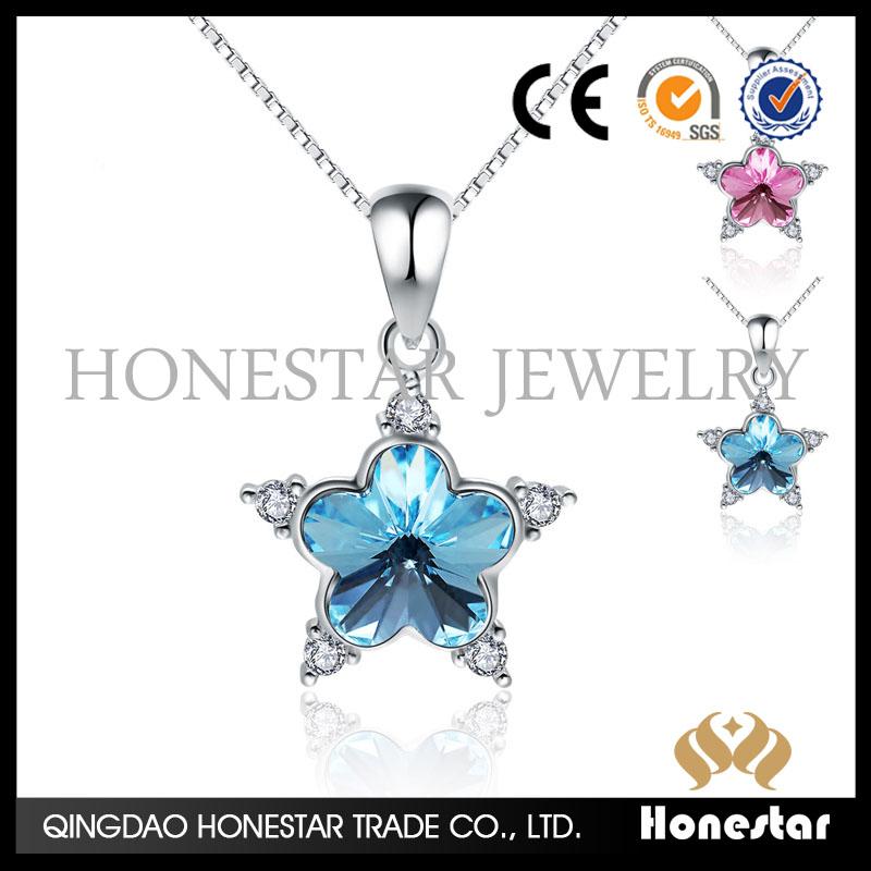 2e222384c715 Hermosa Plata de Ley 925 colgante austriacos Pentagram pendiente collar  joyería