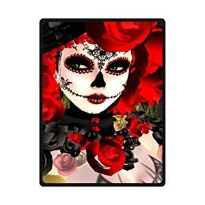 """Dia De Los Muertos Suger Skull Fleece Blanket 58""""x 80"""" (Large)"""