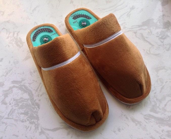 01c56f3ab33d 2014 winter cotton slippers male female health care Taichi acupuncture feet  massage slipper