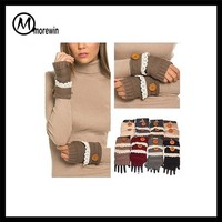 Morewin Fashion Women's Knitted Fingerless Winter Gloves Lace Buttons Soft