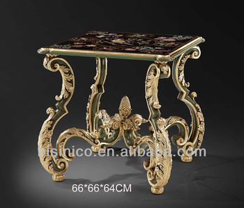 French Baroque Style Hand Carved Coffee Table With Floral