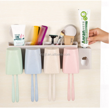 Wheat Straw Wall Mounted Automatic Toothpaste Dispenser And