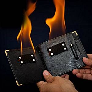 Soledi Magic Trick Gimmick Flame Fire Bifold Wallet Leather Magician Stage Street Inconceivable Show Prop