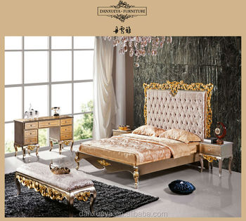 Dxy french Empire Furniture gold Wood Crafts Flower Princess Bed