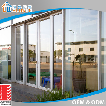 Commercial Double Aluminum Glass Frame Sliding Doors/High Grade Steel  Security Door With CCC