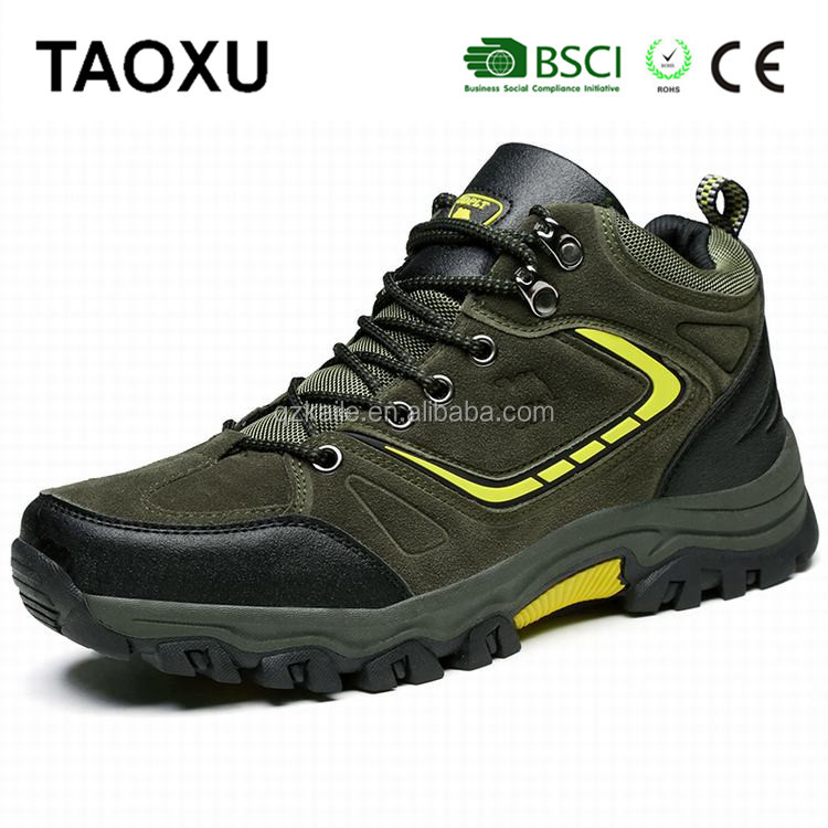 Suede leather safety shoes man hiking shoes climbing wholesale breathable men boots good prices cheap