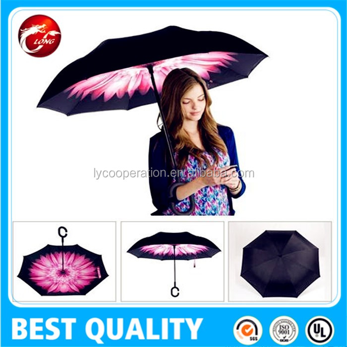 Double Layer Inverted Umbrella,inside full printed flower reverse umbrella