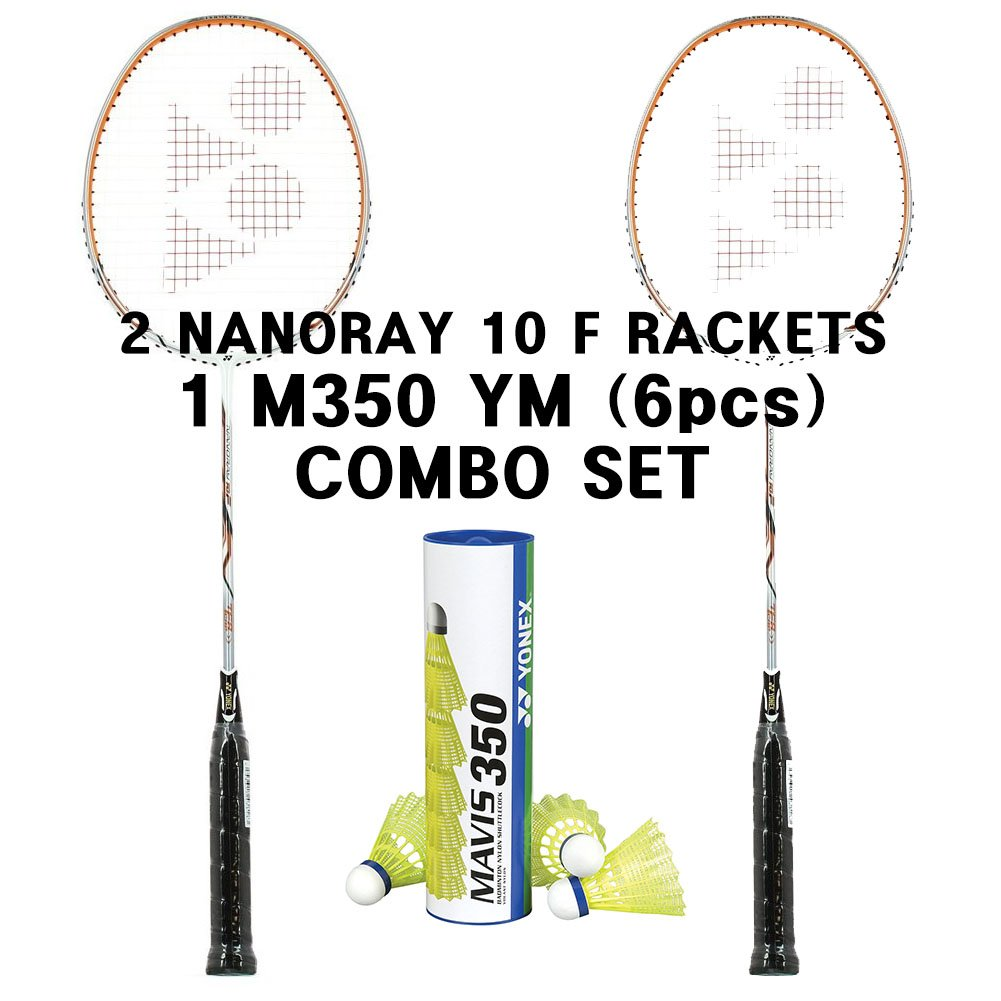 Yonex 2 Nanoray 10 F White Orange 1tube Mavis 350 Yellow Medium Combo Set