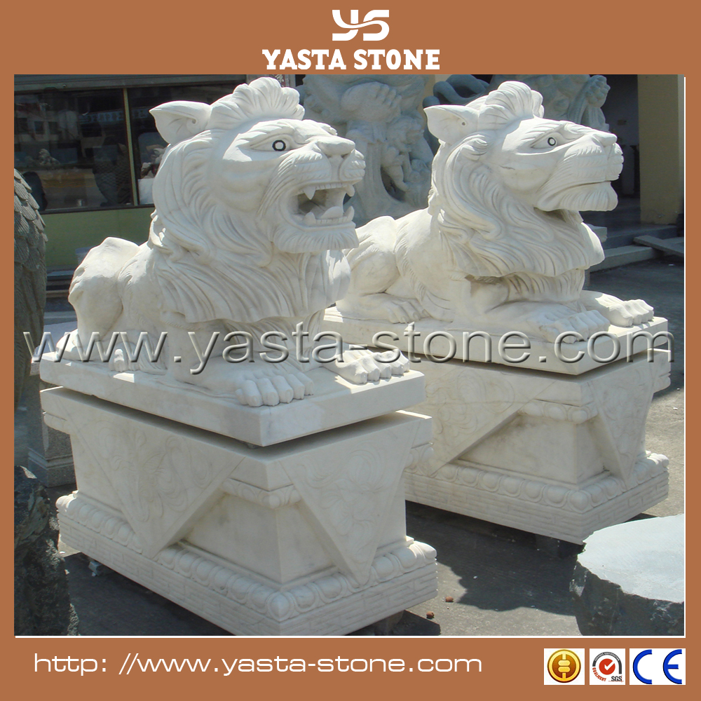 Chinese hand carved White marble lion statues prices