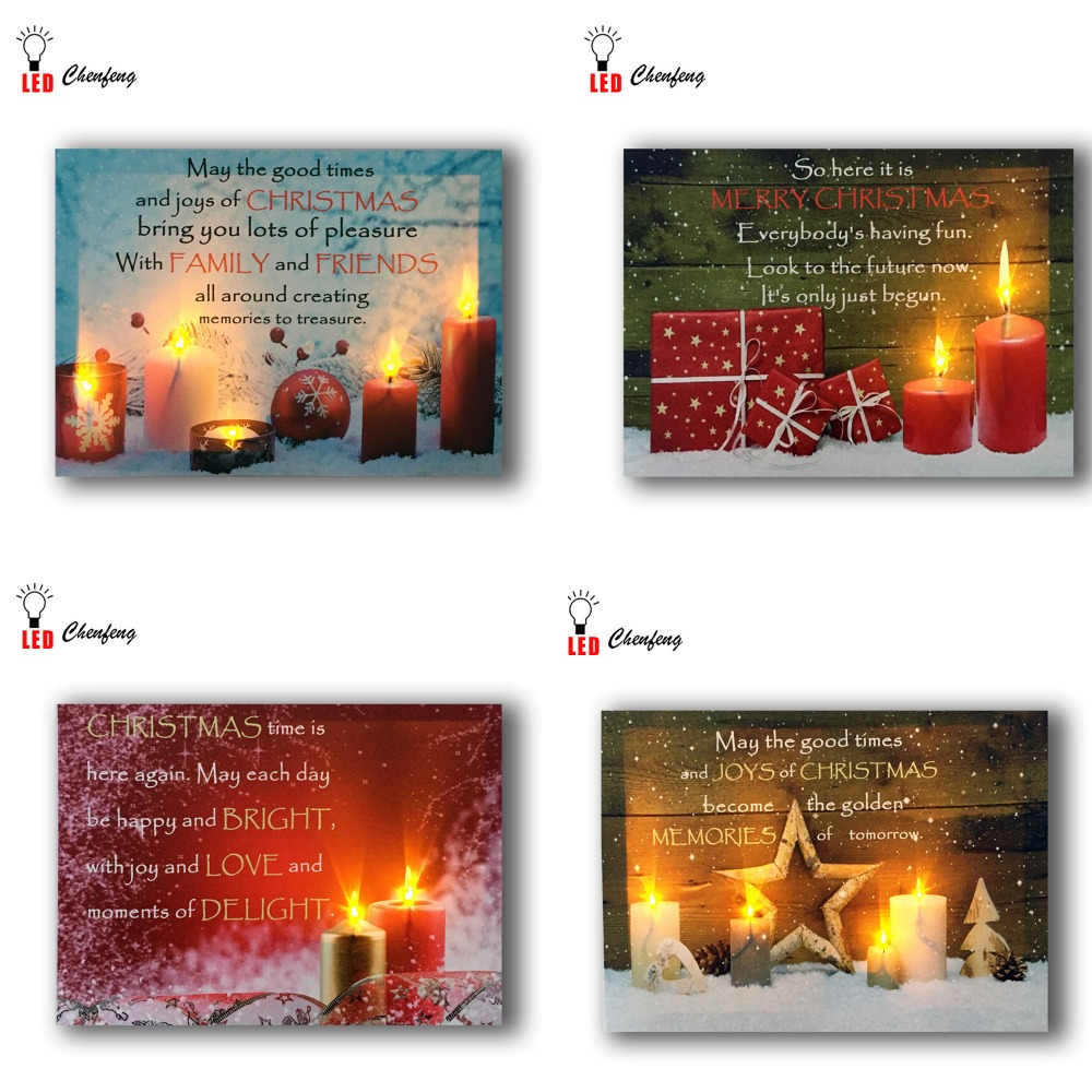 Lighted wall <strong>pictures</strong> led christmas canvas painting candles with quote design wall printing for home decor dropshipping
