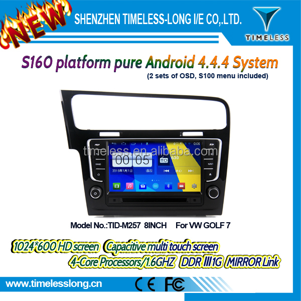 2DIN android car dvd android 4.4.4 HD 1024*600 for vw golf 7 with 4 Core CPU, Mirror Link(TID-M257)