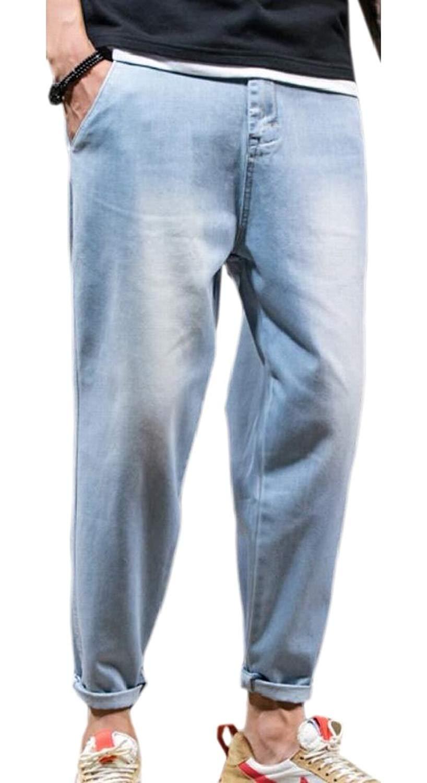 6798718524fe32 Get Quotations · XQS Mens Casual Cotton Denim Pants Jeans Harem Jogger Pants