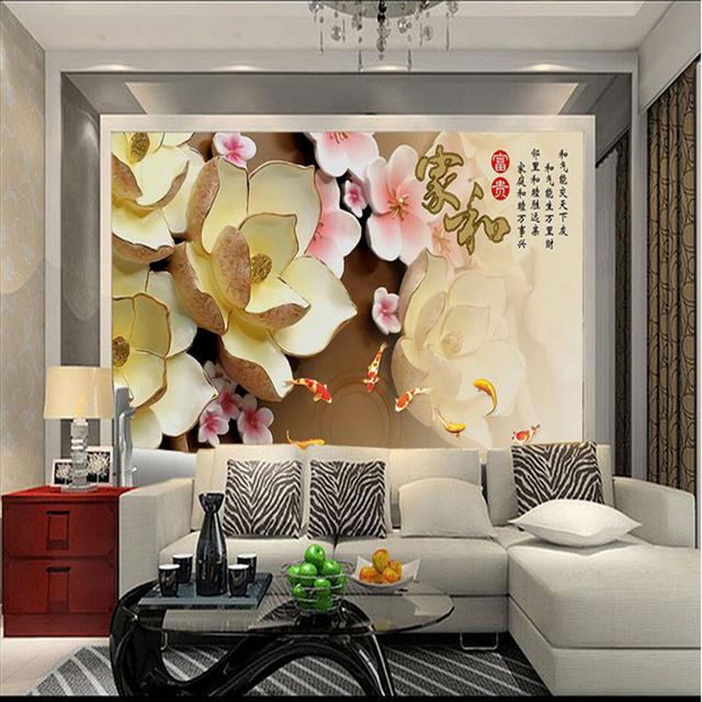 3d stéréoscopique soulagement lotus grande murale papier