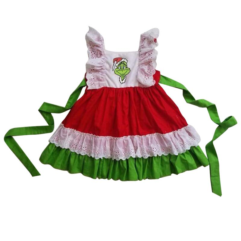 high quality usa fashion wholesale baby girls red dress clothing Christmas cartoon applique kids dress