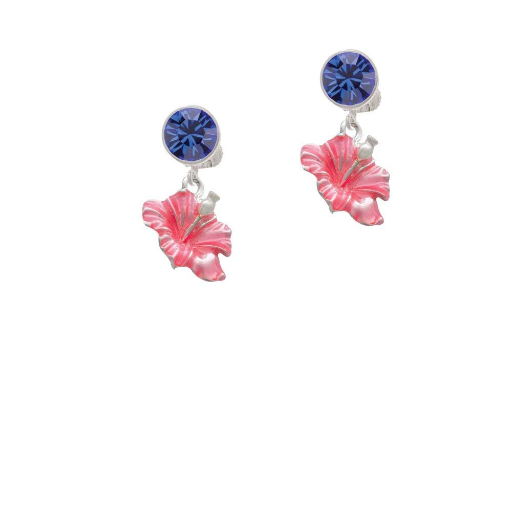 50c12b1821f Get Quotations · Silvertone Hot Pink Hibiscus Flower - Blue Crystal Clip on  Earrings