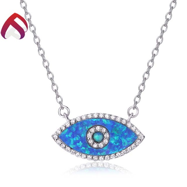 Charming ocean blue handmade opal evil eye 925 silver necklace