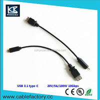 Kuncan 100W power supply 3.1 usb type c to a female data cable cable for TV