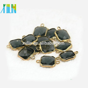Square Shape Crystal Glass Brass Silver Gold Pendant Cut Faceted Black Gemstone Names Double Connector Crystal Pendant CA005