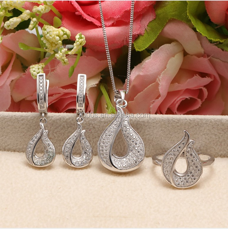 Elegant 925 sterling silver teardrop shape shining AAA cz party jewelry set