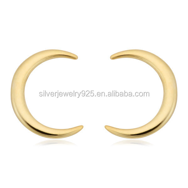 Italian 14K Yellow Gold High Polish Crescent Stud Earrings