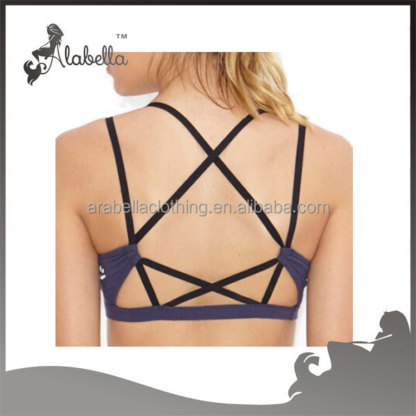 Crisscross strappy back design top selling cheap wholesale sports bra
