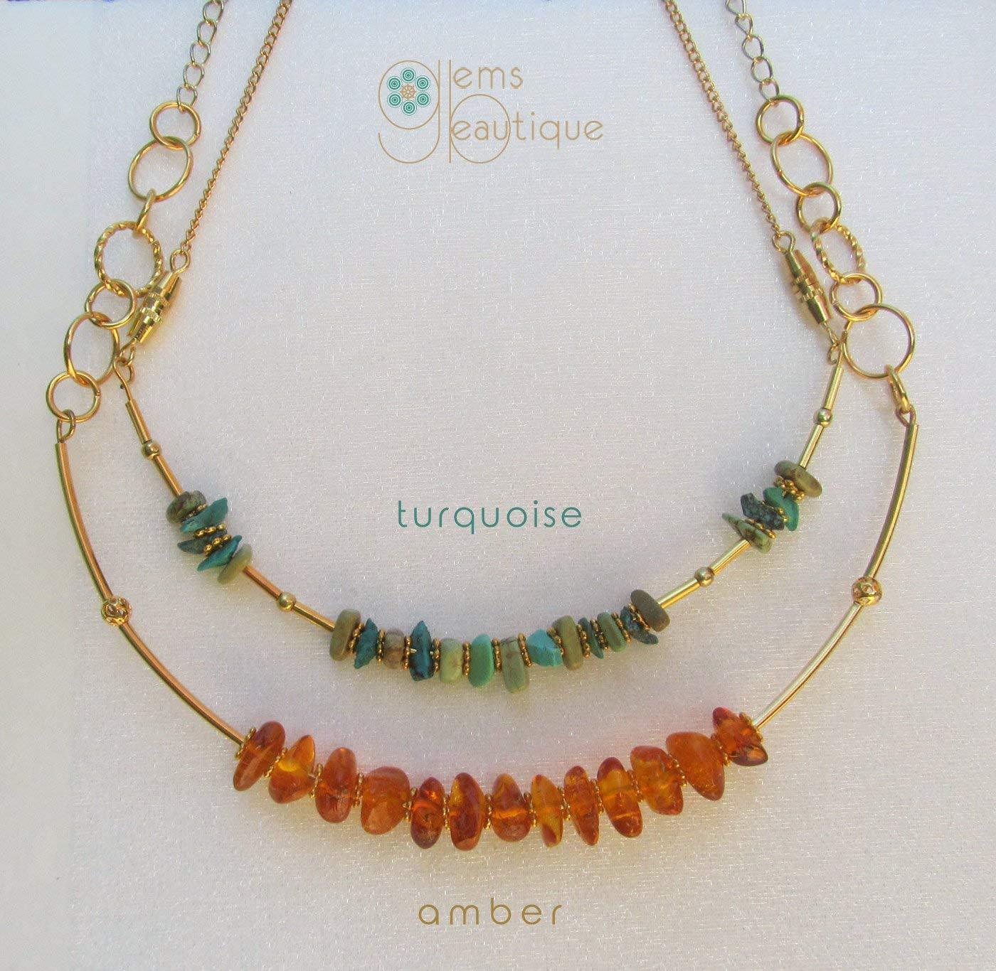 "GemsBeautique Aquarelle Beaded 16"" Gold Choker Necklace. Turquoise. Genuine Gemstone. Elegant GIFT."