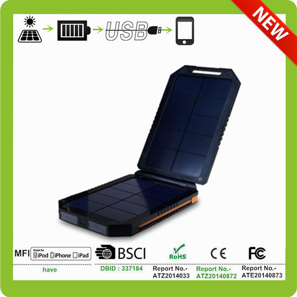 Outdoor Hook Hole built -in portable solar power bank with dual usb
