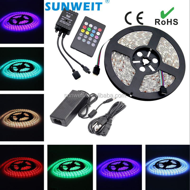 16.4ft 5M Flexible Strip 150leds Color Changing RGB SMD5050 LED Light Strip Kit + 20keys IR remote music activated 12V/3A Power