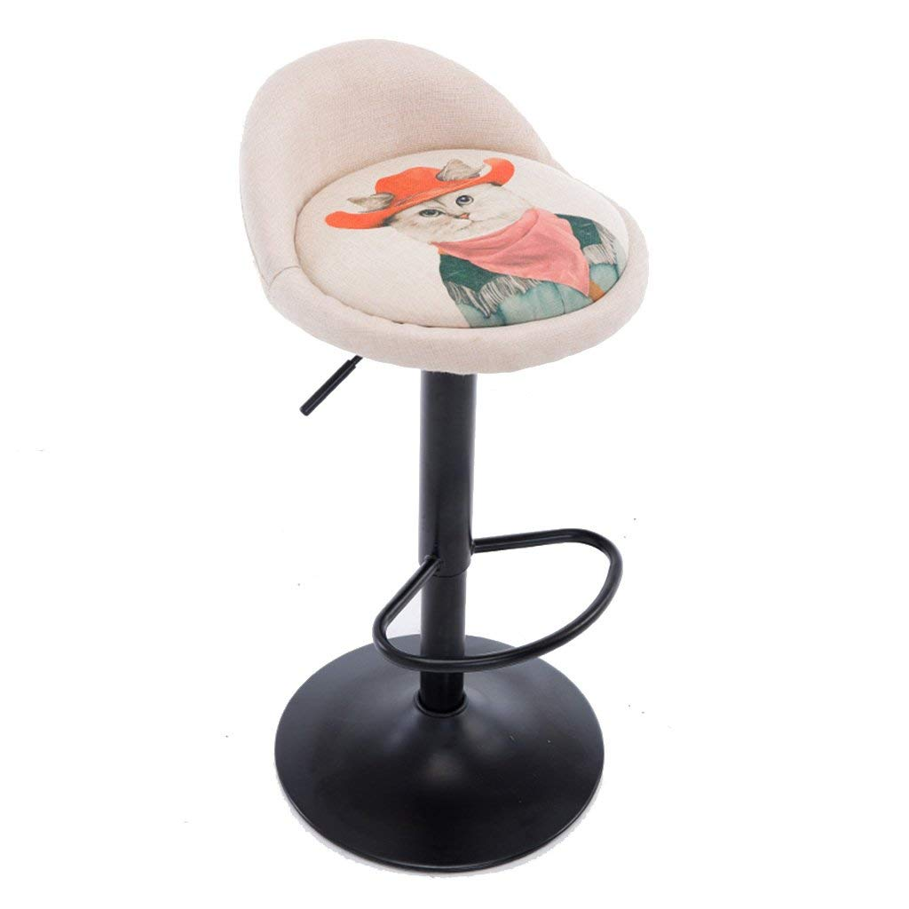 Wei Hong Home Breakfast stool office stool cartoon bar stool bar stool barber stool lift home stool 306° rotation adjustable height (Color : White, Size : 341270cm)